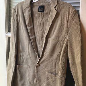 Zara Tan Cotton Mesh casual blazer sz M
